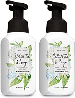Bath and Body Works Gentle Foaming Hand Soap, White Tea and Sage 8.75 Ounce (2-Pack) with Ginseng Extracts