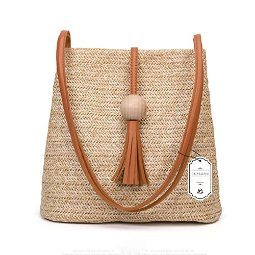 6cda95af43c Turelifes Straw Bag Hand Weave Beach Handbag Summer Crossbody Shoulder Bags  Bucket Tassel Totes for Women