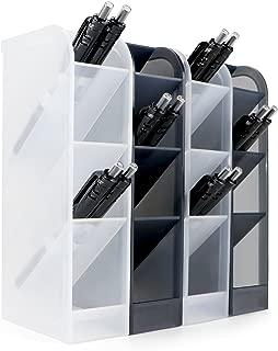 4 Pcs Desk Organizer, Pen Organizer Storage for Office, School Supplies, Translucent Black & White Pen Storage Holder, Set of 4, 16 Compartments (4 Pcs)