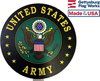 Gettysburg Flag Works United States Army Printed Resin Grave Marker, Full Color Design, US Army Cemetery Memorial Flag Holder, Veteran Plaque, Made In USA