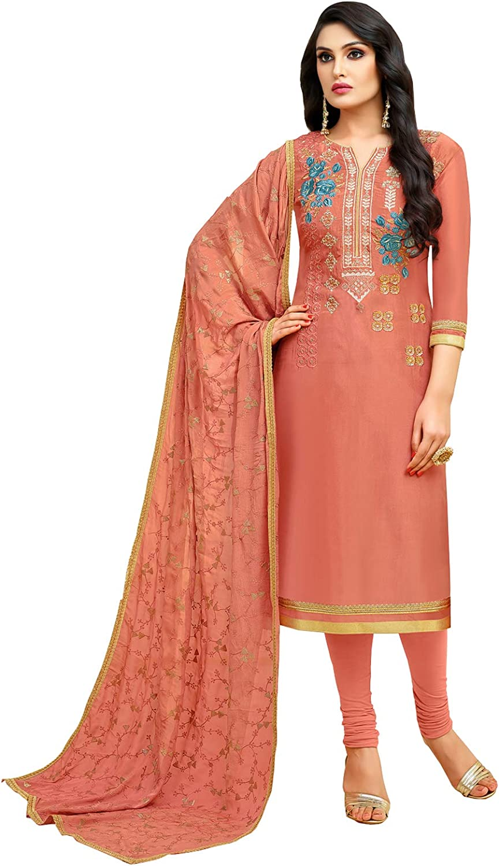 Rajnandini Women's Upada Silk Embroidered Dress Material(JOPLMF510_Peach_Free Size)