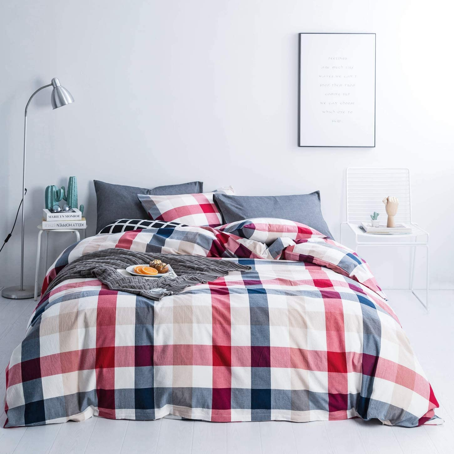 SUSYBAO 3 Pieces Duvet Cover Set Tucson Mall Size King Fees free!! 100% Washed Re Cotton