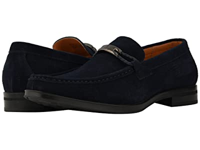 Stacy Adams Neville Moc Toe Penny Loafer (Navy Suede) Men