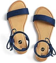 Rekayla Open Toe Tie Up Ankle Wrap Flat Sandals for Women