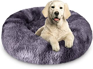 JOEJOY Calming Dog Beds Donut Cuddler, 16/20/23/30inch Round Pet Cat Bed Faux Fur Anti-Anxiety Machine Washable Warming Fl...