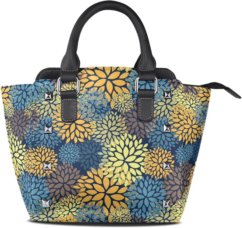 My Little Nest Women's Top Handle Satchel Handbag Floral Abstract Pattern Ladies PU Leather Shoulder Bag Crossbody Bag