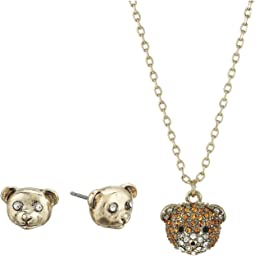 Pave Teddy Bear Pendant and Stud Earrings Set