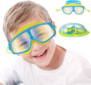 Kids Swim Goggles, Swimming Glasses with Waterproof Anti-Fog Anti-UV Lens and Soft Silicone Strap for Children and Teenagers from 4 to 15 Year Old