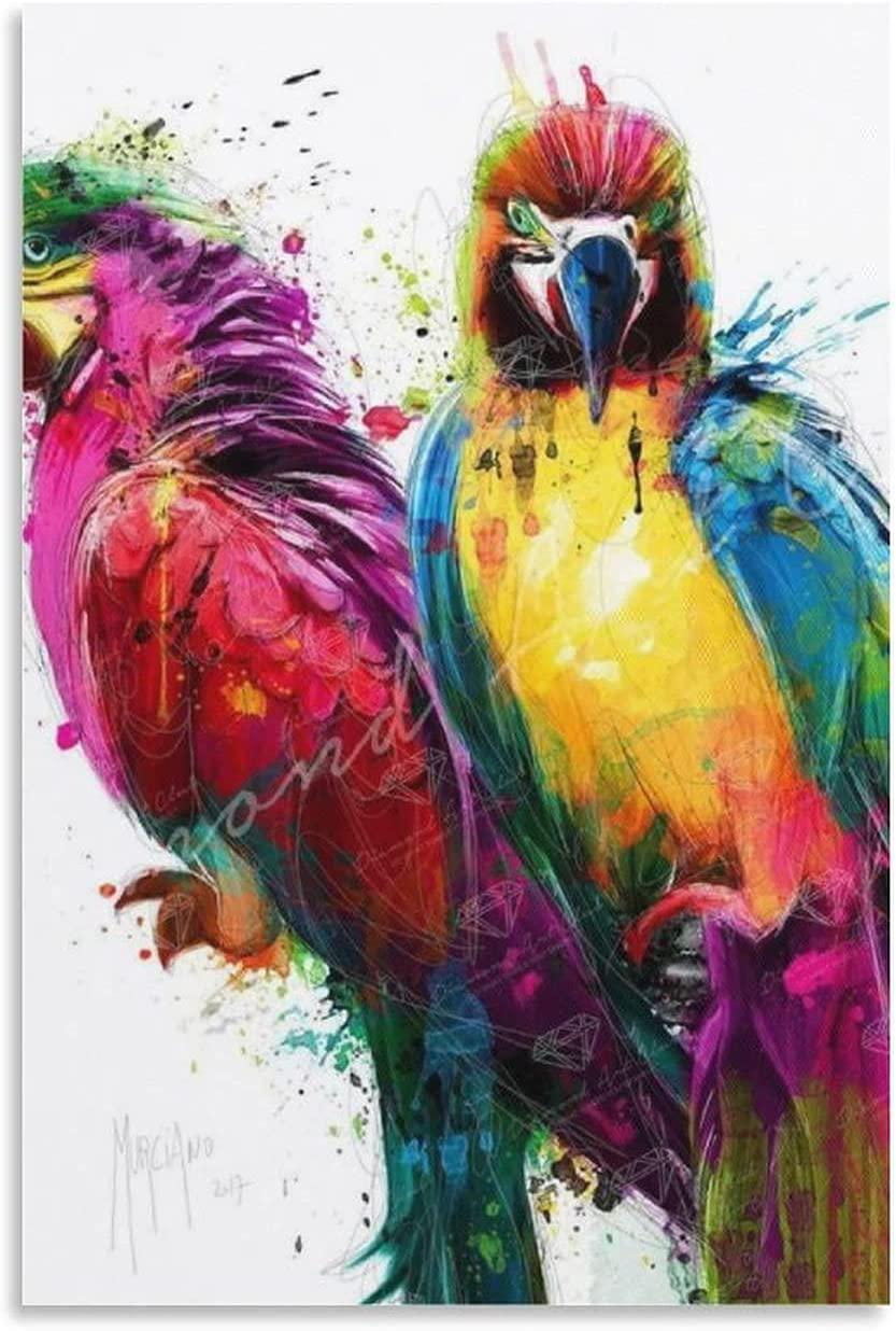 Ebitah Tropical Free shipping on posting reviews Color Parrot Poster Painting Decorative W Max 47% OFF Canvas