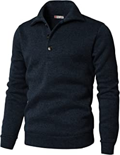 H2H Mens Casual Slim Fit Pullover Sweatshirts Knitted T-Shirts Thermal Napping Inside