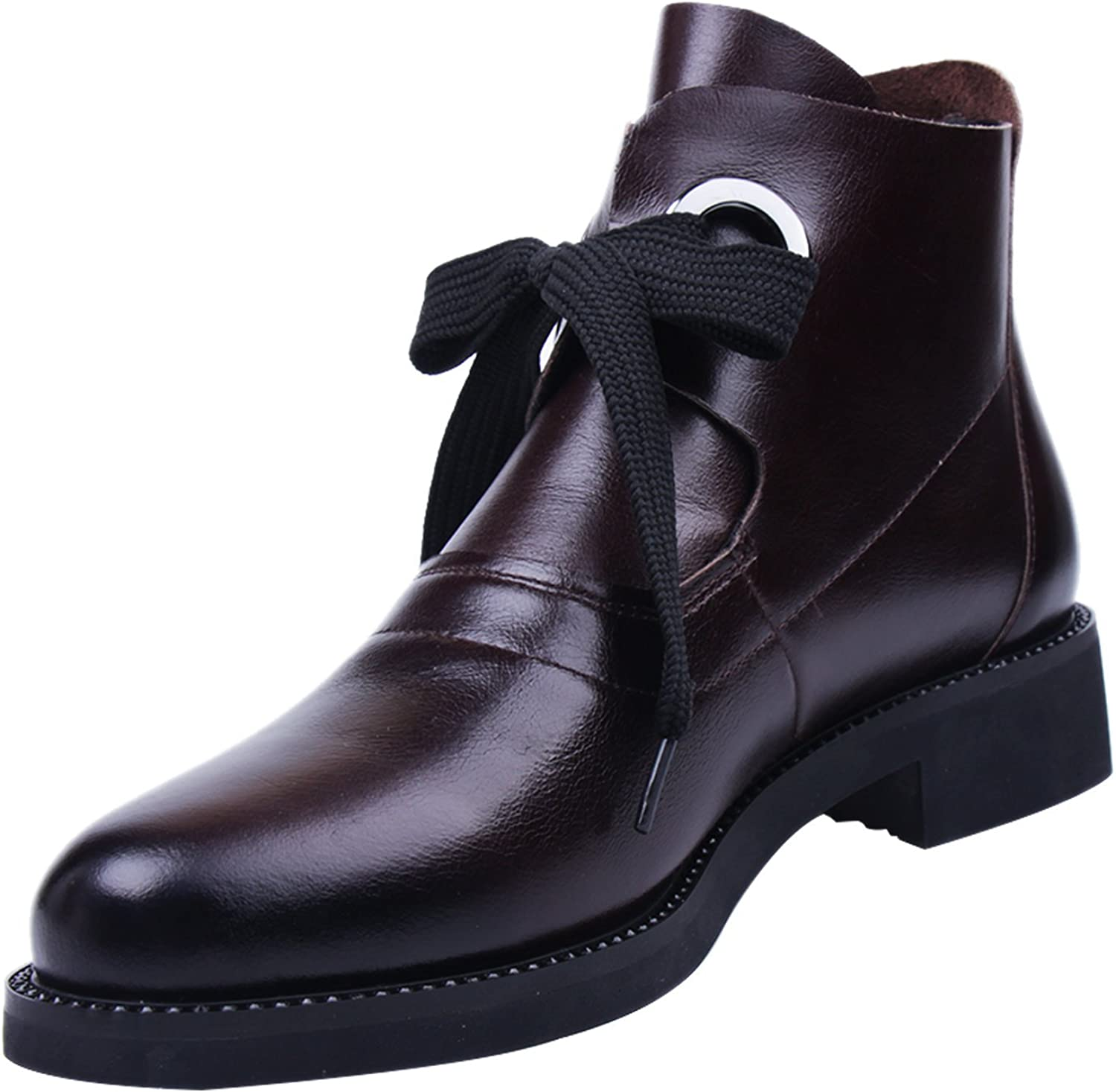 MARHEE Women's Ankle Leather Boots Slip Casual Flat Fashion Travel Party Martin Short Leather Boots