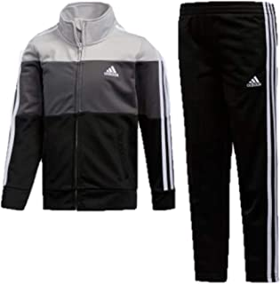adidas Boys' Tricot Jacket and Pant Set (12 Month, Black 001)