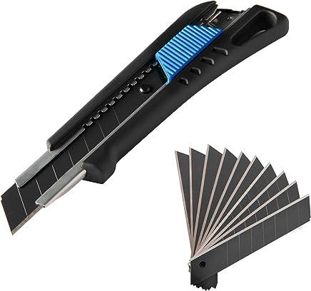 Narot Cuttermesser inkl. 13 Abbrechklingen - Teppichmesser mit Magazin und gummiertem Griff | Profi Cutter 18mm