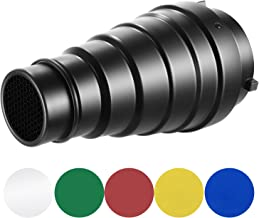 Neewer Large Aluminium Alloy Conical Snoot Kit with Honeycomb Grid and 5 Pieces Color Gel Filters for Bowens Mount Studio Strobe Monolight Photography Flash Light