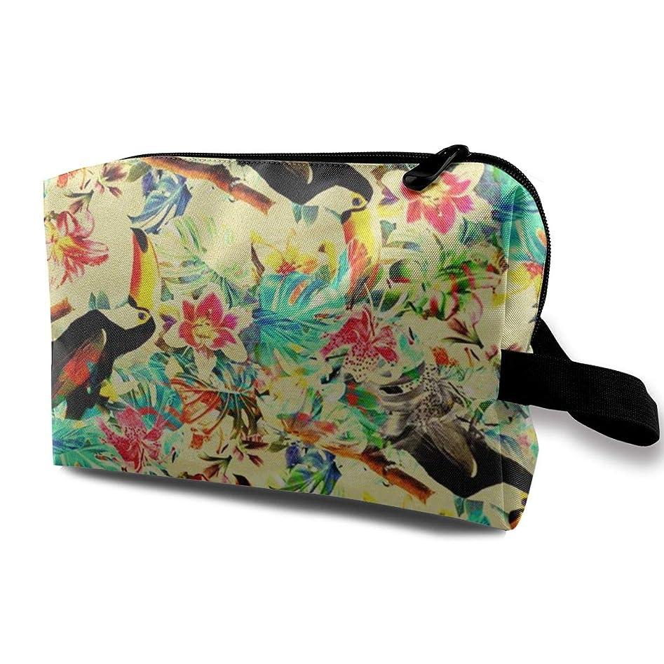 隠に付けるマーガレットミッチェル化粧ポーチ トイレタリーバッグ トラベルポーチ オオハシと花柄 防水耐震 大容量 収納ポーチ 出張 海外 旅行グッズ 男女兼用