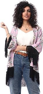 كيمونو قطن مشجر باطراف شراشيب مختلفة اللون للنساء من جميلة