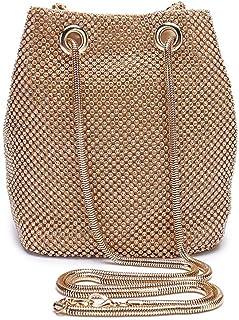 Peng Fang - Bolso de mano para mujer, diseño de pedrería, color dorado