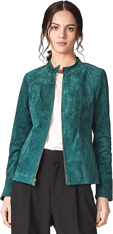 Escalier Women's Genuine Leather Jacket Suede Moto Biker Coat