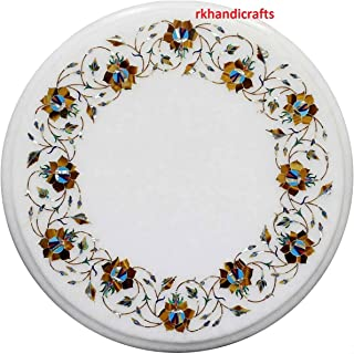 White Marble End Table Top Inlay Work with Semi Precious Stone Elegant Home Interior 18 Inches