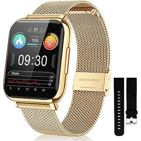 Reloj inteligente para teléfonos Android de 1,7 pulgadas, pantalla táctil, impermeable, monitor de actividad física, frecuencia cardíaca, oxígeno en sangre, monitor de sueño, reloj inteligente para mujeres y hombres (dorado)