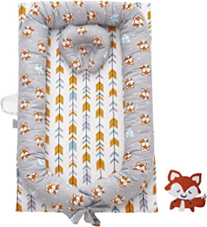 Brandream Baby Nest Bed, Fox Arrow Newborn Lounger Woodland Baby Bassinet for Bed Cotton Portable Crib Bed, Multifunctional Cradle for Bedroom/Travel (0-24 Months)