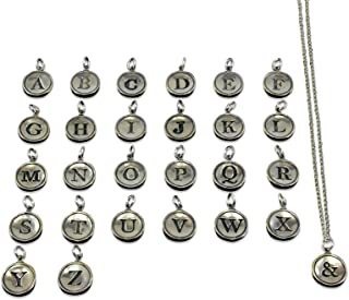 Gwendelicious - Solid Sterling Silver - Typewriter Key Letter Initial Pendant Necklace - All Letters Available - Combine Multiple Charms on One Chain - 18 Inch Silver Ball Chain - Fashion Jewelry