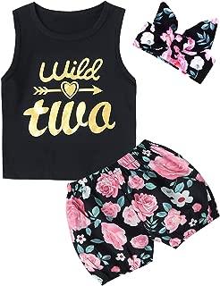 3PCS Outfit Short Set Baby Girls Floral Tops + Pants + Headband