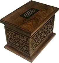 NWA Extra Large Wooden Funeral Cremation Ash Urn, Companion Human Cremation Urn, Double Urn with Customized Name Plates