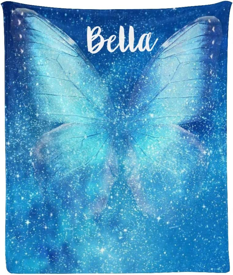 CUXWEOT Custom Al sold out. price Blanket with Name Butterfly Sof Blue Personalized