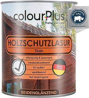 colourPlus Holzschutzlasur 750ml, Teak seidenglänzende Holzlasur Außen- Holz Grundierung - Holz Lasur - Holzlasur Aussen - Made in Germany