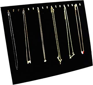 Ogrmar Black Velvet 17 Hook Necklace Jewelry Tray/Display Organizer/Pad /Showcase/Display case (17 Hook Necklace Display)