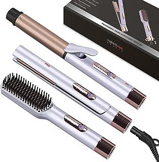 """مجموعه مدل موی PARWIN PRO BEAUTY -شامل 1 """"آهن صاف ، 1.25"""" برس مو و مو صاف کننده با سیم برق قابل جدا شدن ، کنترل دما LED و گرم شدن فوری ، ولتاژ دوگانه ، برای خانه و مسافرت"""