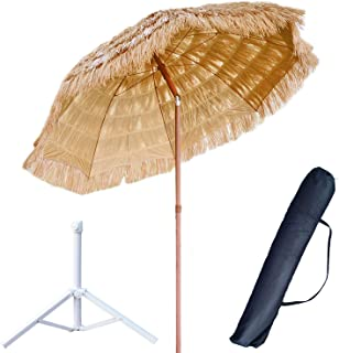 6.7 Feet Thatched Tiki Hut Umbrella, Hawaiian Hula Beach Umbrella, Outdoor Patio Thatch Tiki Umbrella UPF 50+ with Tilt Na...