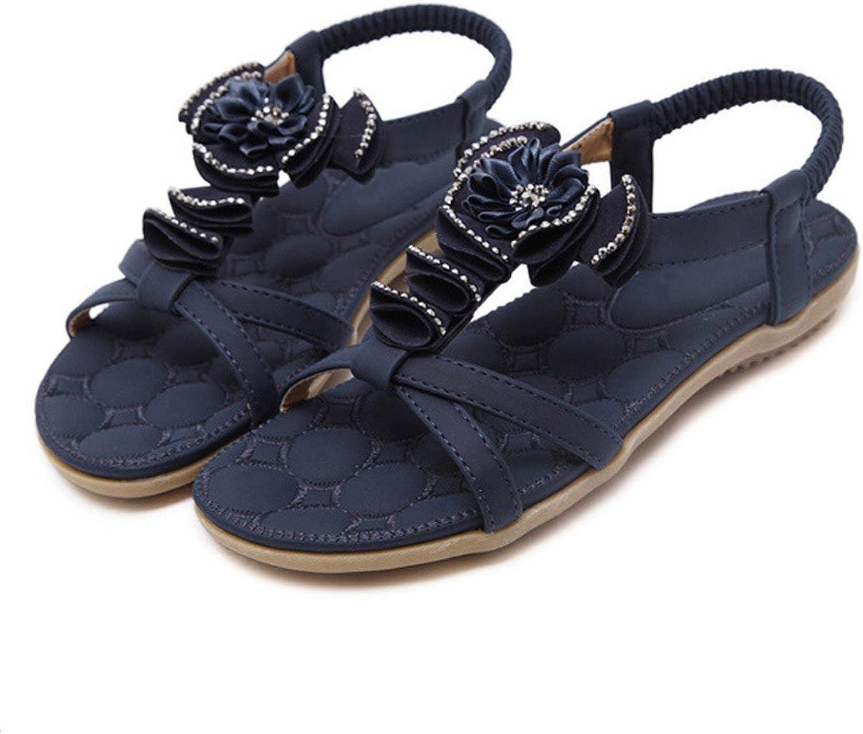 Women Large Size Summer Bohemia Flowers Rhinestone Beach shoes Comfortable Flat Heel Sandals