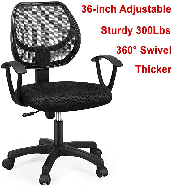 300Lbs 36 Inch Adjustable Height Ergonomic Midback Mesh Office Chair Executive Swivel Computer Desk Task Chair 360 Swivel Black