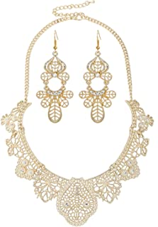 Idea Womens Bohemian Filigree Statement Jewelry Set Party Jewelry Accessory for Ladies 5 Colors