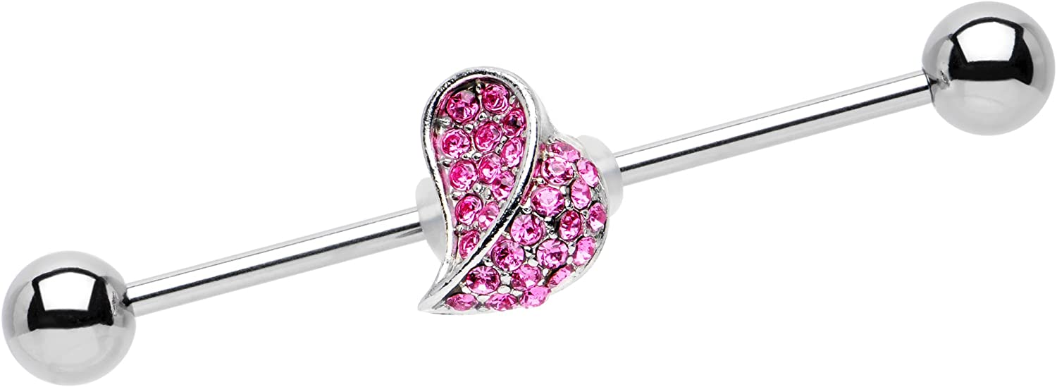 Body Candy Stainless Steel Pink Change of Heart Helix Earring Industrial Barbell Piercing 14 Gauge 36mm