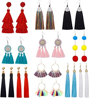 AIDSOTOU 6-12 Pairs Tassel Drop Earrings for Girls Women Colorful Long Layered Bohemian Tiered Thread Ball Dangle Earrings Red Pink Hoop Stud Earrings Set Fashion Jewelry Valentine Birthday Gift