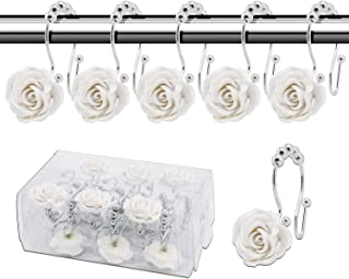 BEAVO Rose Shower Curtain Hooks,12 Pcs Double Glide Shower Curtain Rings Stainless Steel Rustproof Decorative Shower Hook Ring with Resin Rose Flower for Bathroom Shower Rods (White)