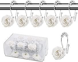 12Pcs Resin Flower Shower Curtain Hooks Hanger Curtain Rings Home Bathroom Decor