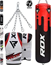 RDX Punch Bag UNFILLED Set Kick Boxing Heavy MMA Training with Gloves Punching Mitts Hanging Chain Ceiling Hook Muay Thai Martial Arts 4FT, 5FT