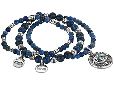 Alex and Ani Evil Eye Set of 3 Stretch Bracelet (Silver) Bracelet