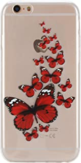 Clear TPU Case for iPhone 5S,Aoucase Ultra Thin Art Pattern Soft Silicone Rubber Shockproof Non-Slip Back Case for iPhone 5S/5/SE with Black Dual-use Stylus,Red Butterflies