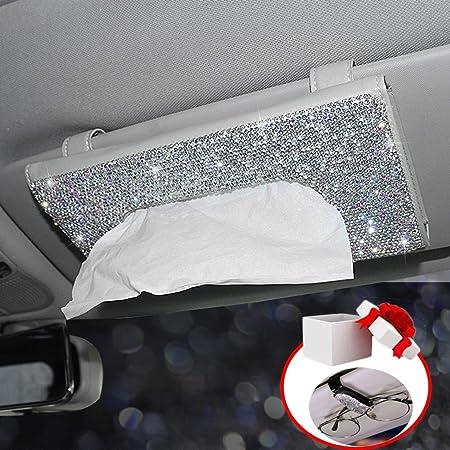 Car Visor Tissue Holder Crystal Sparkling Napkin Holder Accmor Bling Bling Car Tissue Holder PU Leather Auto Tissue Box for Women Girls Ladies Backseat Tissue Purse Case Holder for Car Vehicle SUV