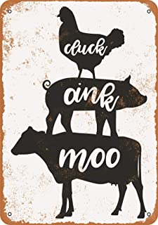 Wall-Color 9 x 12 Metal Sign - Cluck, Oink, Moo, Chicken, Pig, Cow - Vintage Look