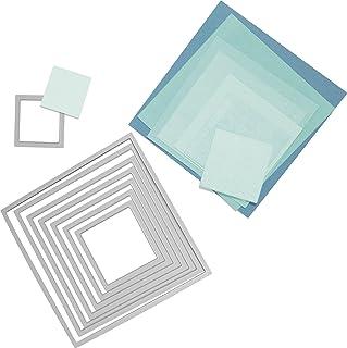 Sizzix 18657565 Big Shot Squares Framelits Set de 8 Matrices de Découpe pour Machine Plastique Multicolore 16 x 1 x 25 cm
