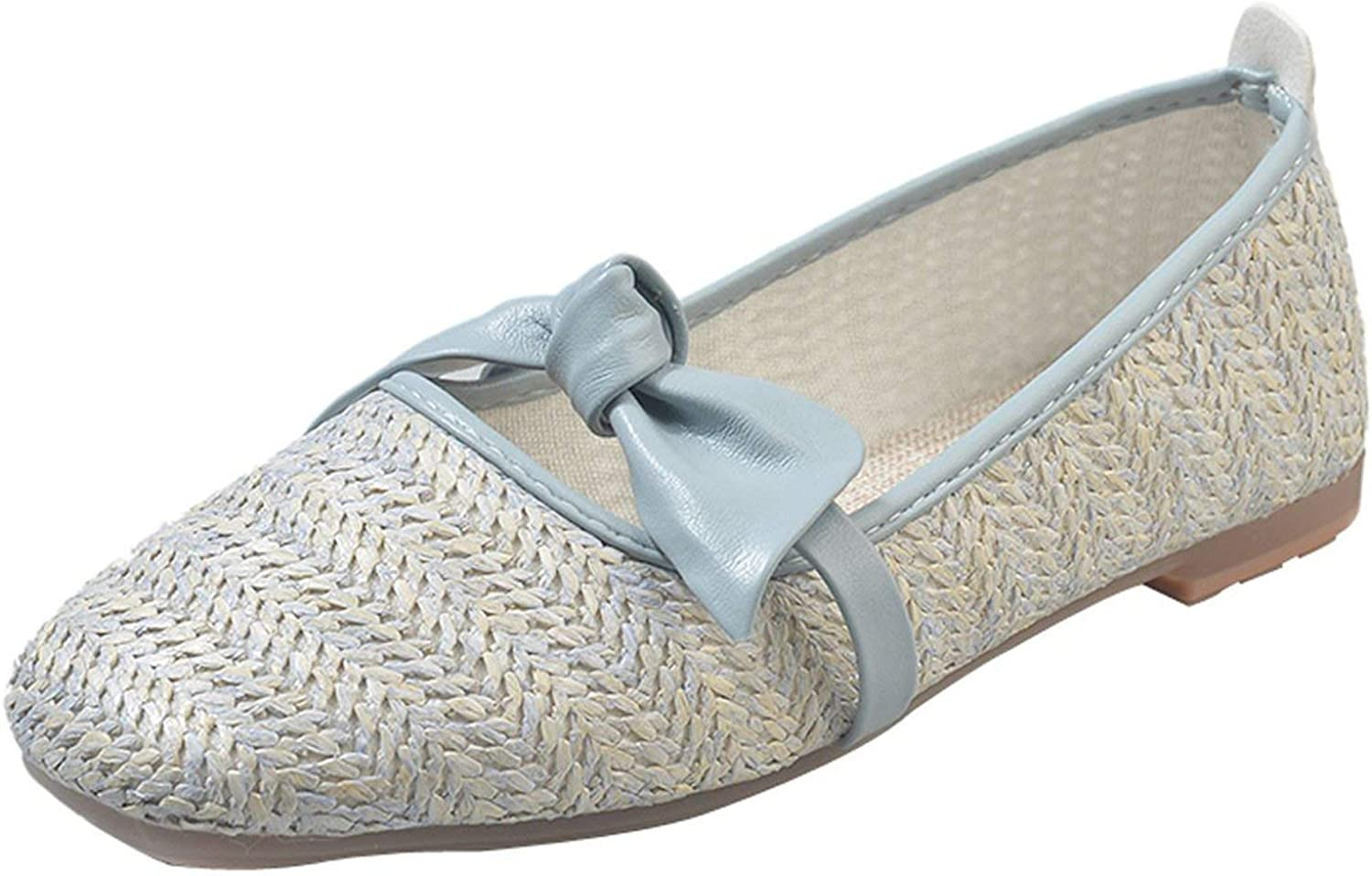 Loafers shoes Rattan Grass Square Toe Platform Casual shoes Single Flat Casual shoes,bluee,36,C
