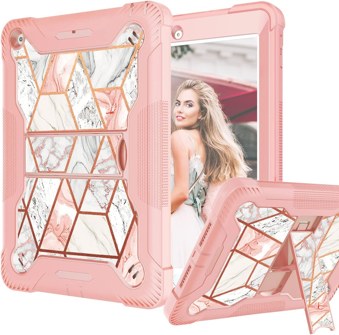 Fingic iPad 6th Generation Case, iPad 9.7 Case 2018/2017, iPad 5th Gen Case Glitter Rose Gold Marble Heavy Duty Shockproof Kickstand Rugged High Impact Protective Case for 9.7 Inch iPad 2018/ 2017