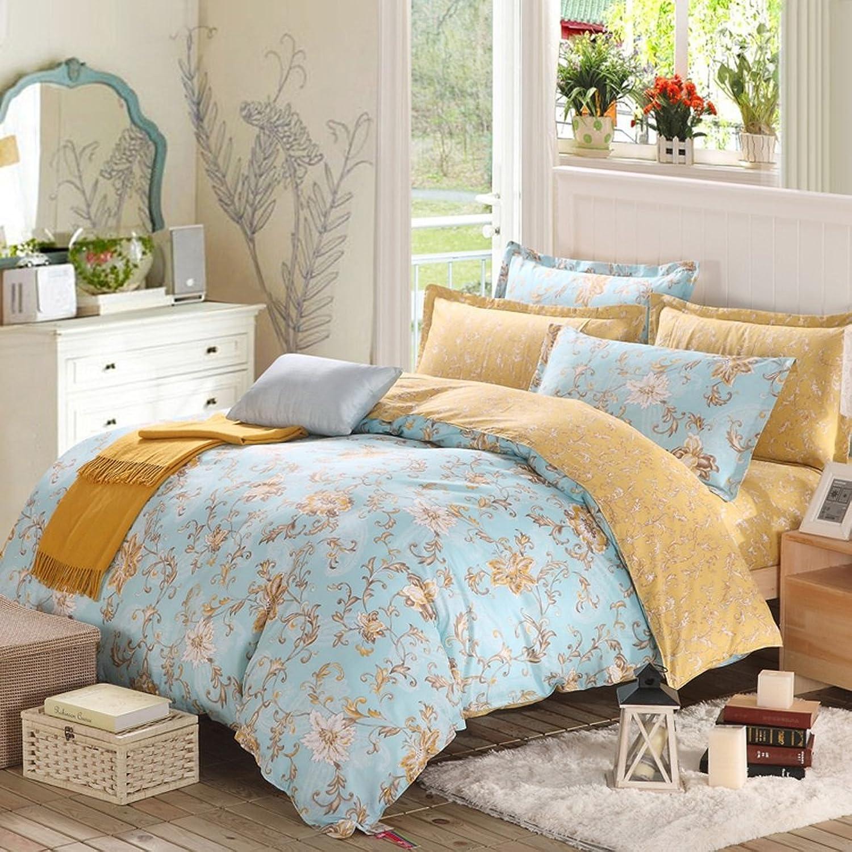 comprar nuevo barato CHENGYI Cubierta de edrojoón de algodón de Color Amarillo Amarillo Amarillo Azul de Flores (Talla   200  230cm)  genuina alta calidad
