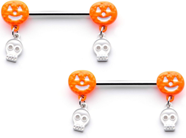 Body Candy 14G Womens Nipplerings Piercing 316L Steel 2Pc Orange Pumpkin Skull Dangle Nipple Ring Set 5/8